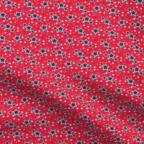 Small scale stars on red fabric