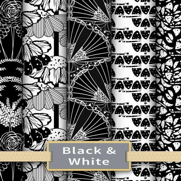 Black and white fabric and wallpaper