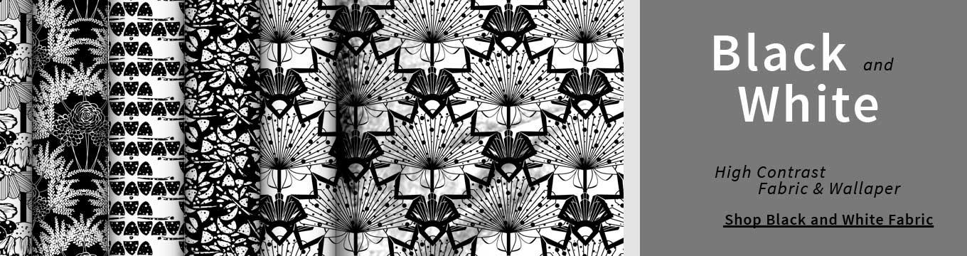 Samples from Amborela's black and white fabric and wallpaper collection