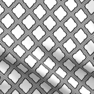 Black and white Moroccan lattice fabric