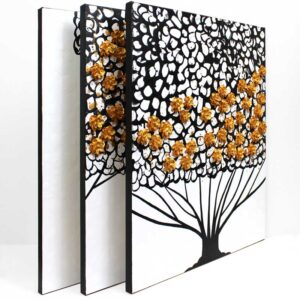 Gold, Black, White Wall Art Canvas, Flowering Tree | Large