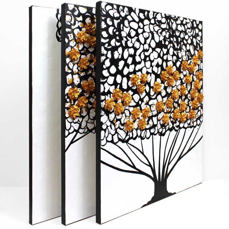 Side view of wall art black and white tree