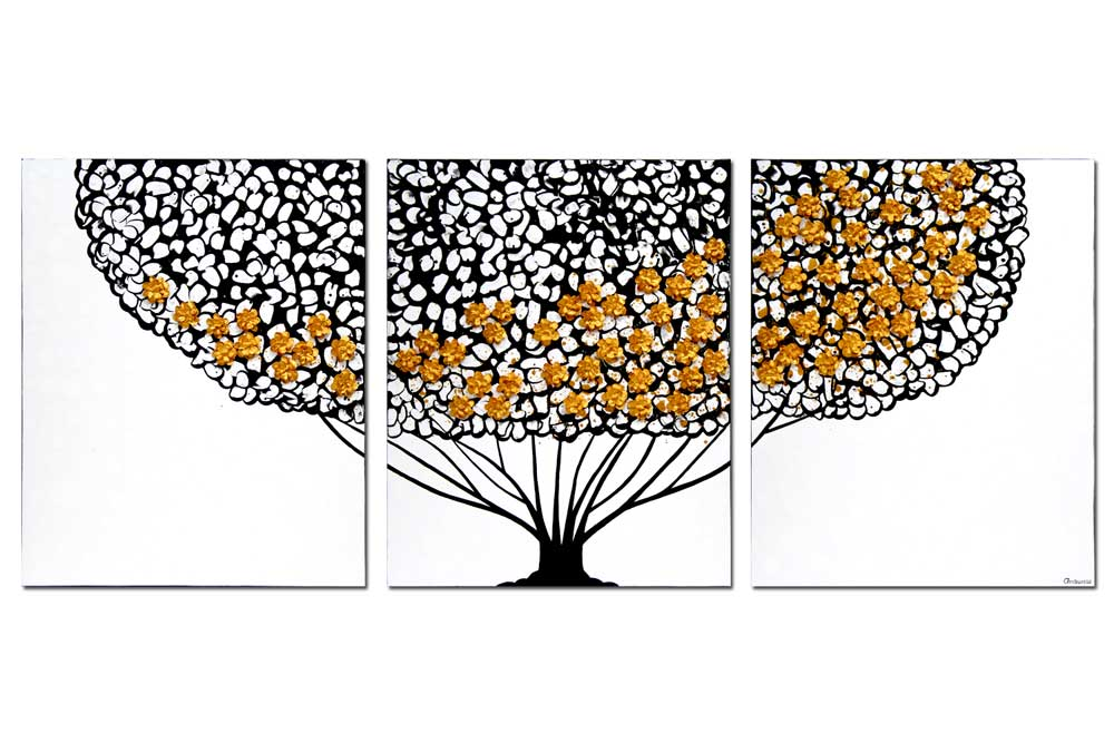 Wall art black, gold, and white tree