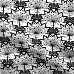 Black and white art deco scale pattern wallpaper