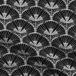 Black art deco fabric with white fan flower scallop