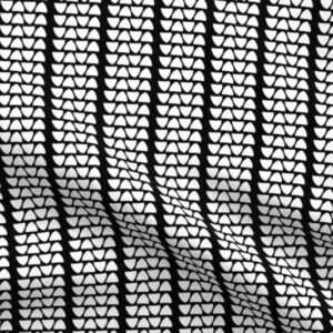 White triangle tread on black fabric