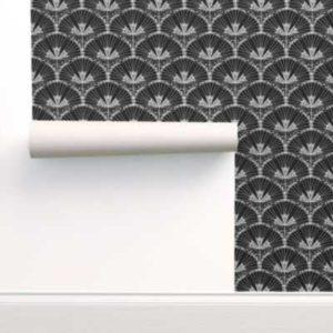 Fabric & Wallpaper: Art Deco Fan Flowers in Black & White Scale