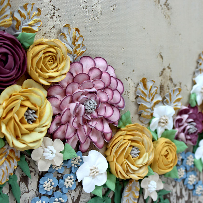 Sculpted flowers on rustic wedding floral art
