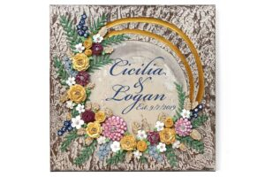 Rustic Wedding Floral Art with Inscription
