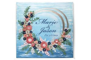 Custom wedding art blue wave floral