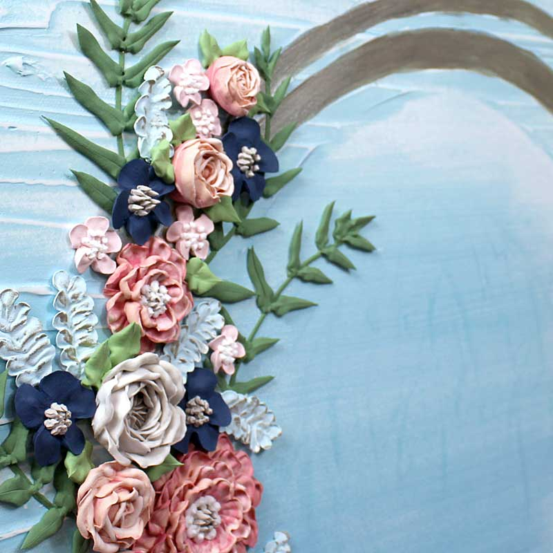 Angle view of wedding art blue wave floral
