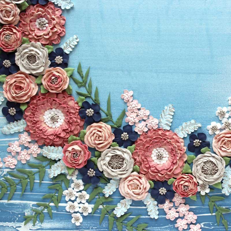 Center view of wedding art blue wave floral