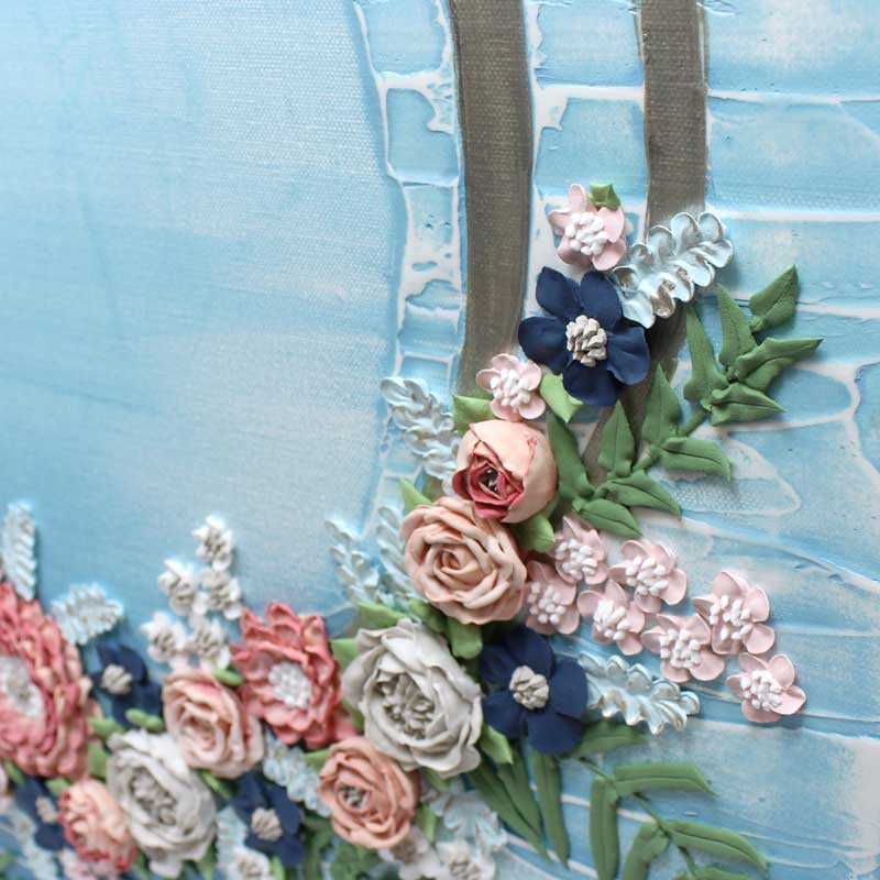 Close up of rings on wedding art blue wave floral