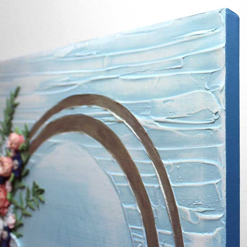 Close up of texture on wedding art blue wave floral