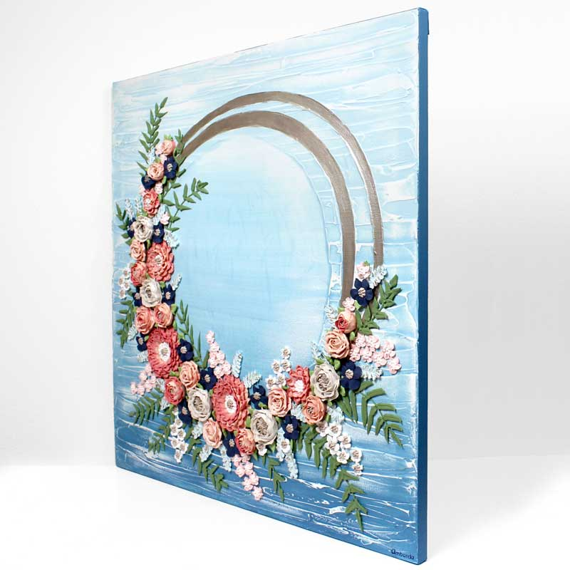 Side view of wedding art blue wave floral