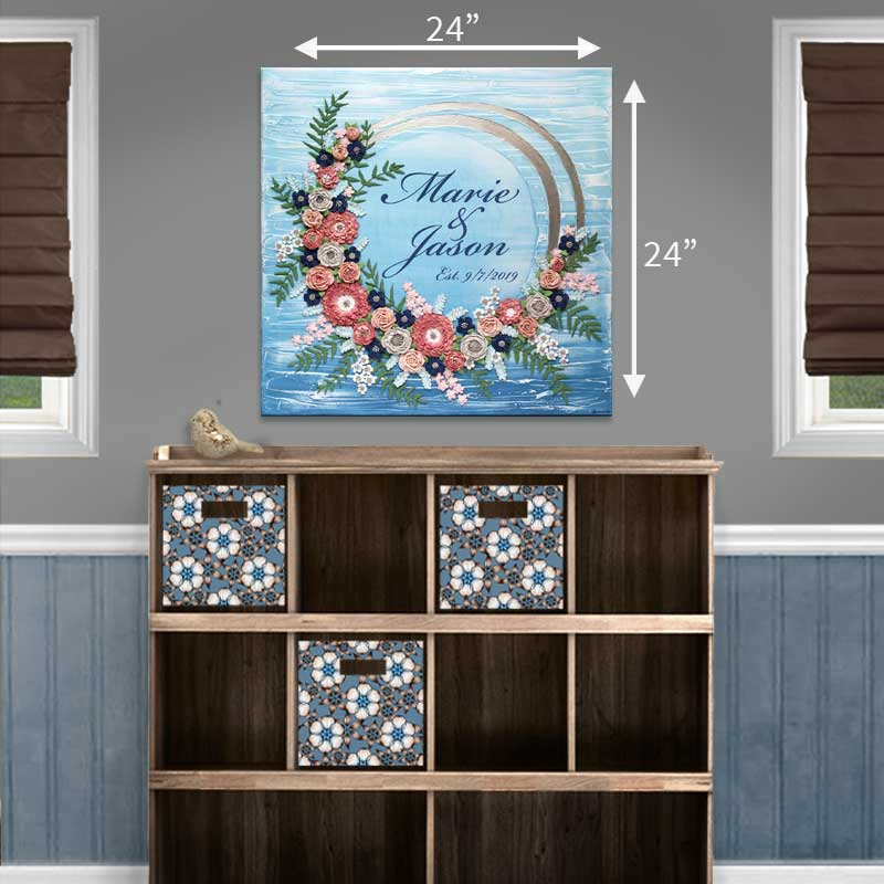 Size guide for 24x24 blue wave wedding art