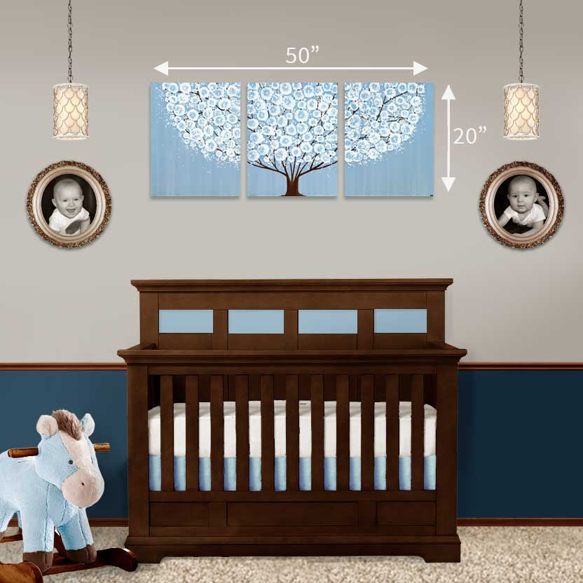 Size guide for nursery art tree in custom colors