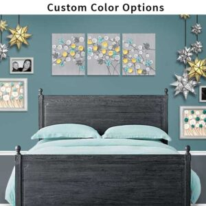 Custom Flower Wall Art Triptych, Choose Your Colors | Large
