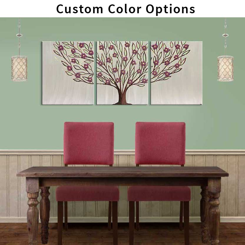 Custom color options for leafy tree with flowers painting
