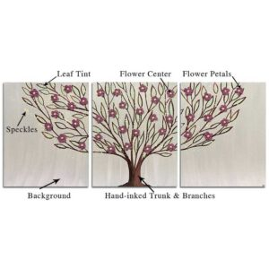 Leafy Flowering Tree Wall Art in Custom Colors | Large – Extra Large
