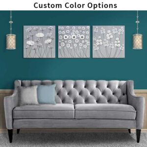 Custom Flower Wall Art Set of 3, Choose Your Colors | Extra Large