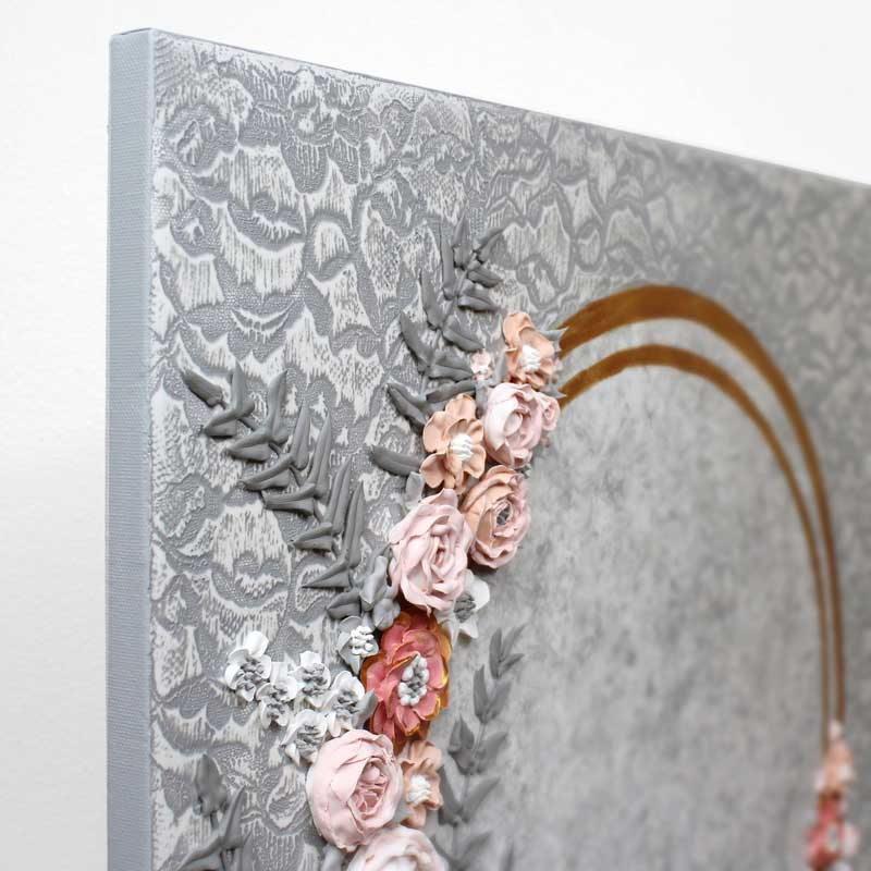 Angle view of pink and gray wedding art