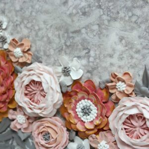 Pink & Gray Flower Wedding Art, Custom Sign for Guestbook Table – Square
