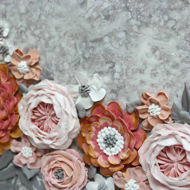 Gold gilding on pink and gray wedding art