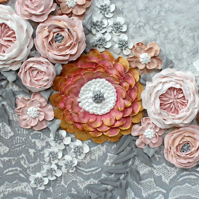 Sculpted zinnia on pink and gray wedding art