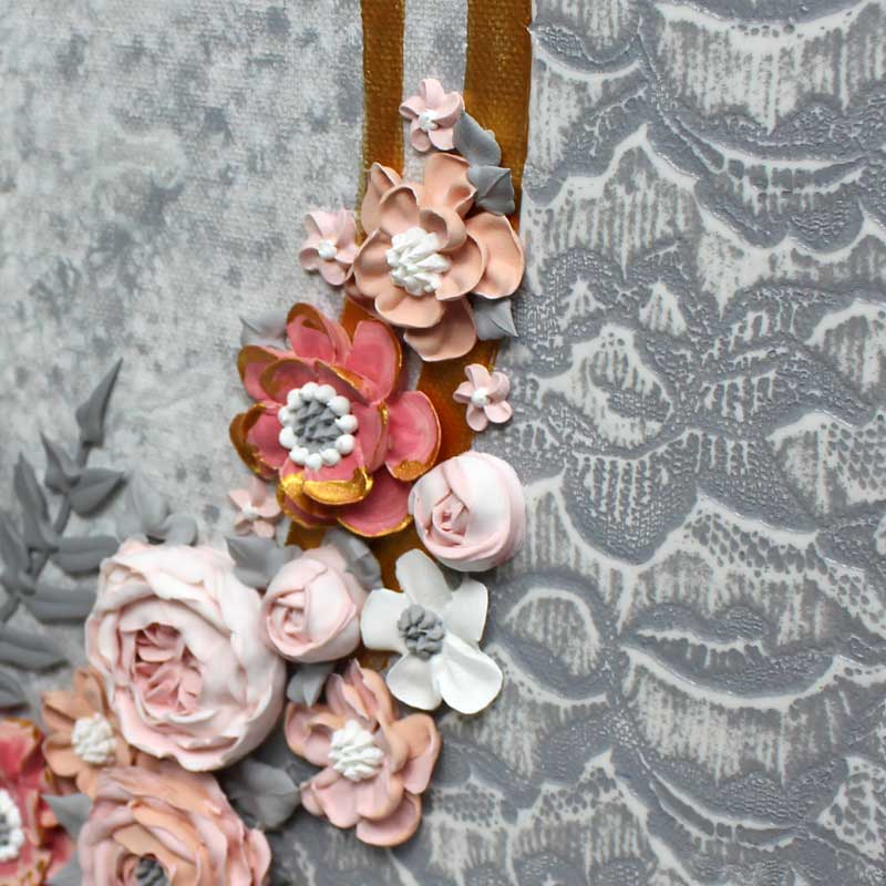 Textured background on pink and gray wedding art