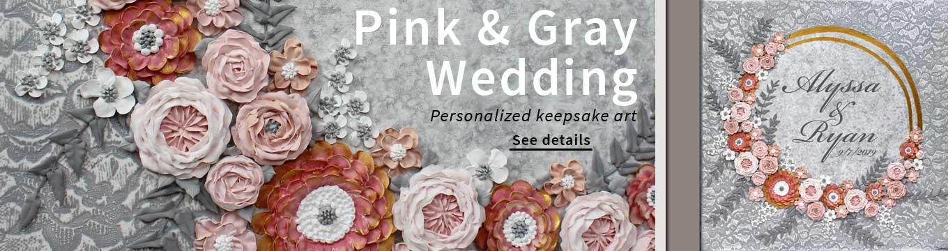 Personalized wedding art sign in pink and gray
