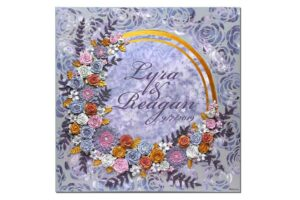 Purple and gray floral wedding art