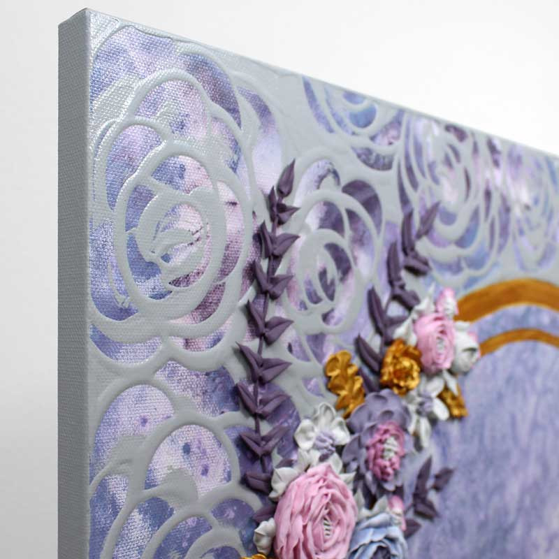 Angle view of purple and gray floral wedding art