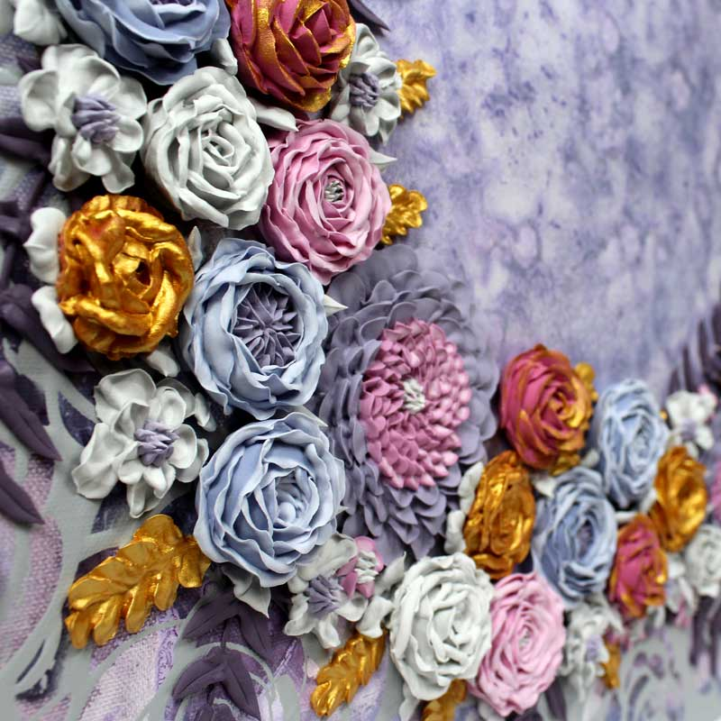 Details of purple and gray floral wedding art