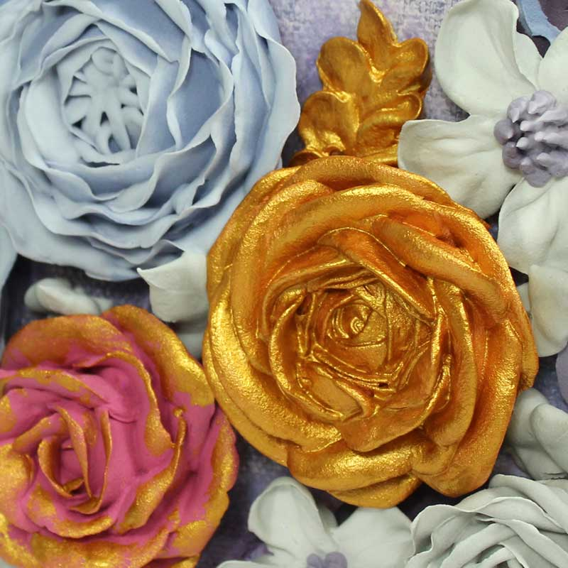 Gold rose on purple and gray floral wedding art