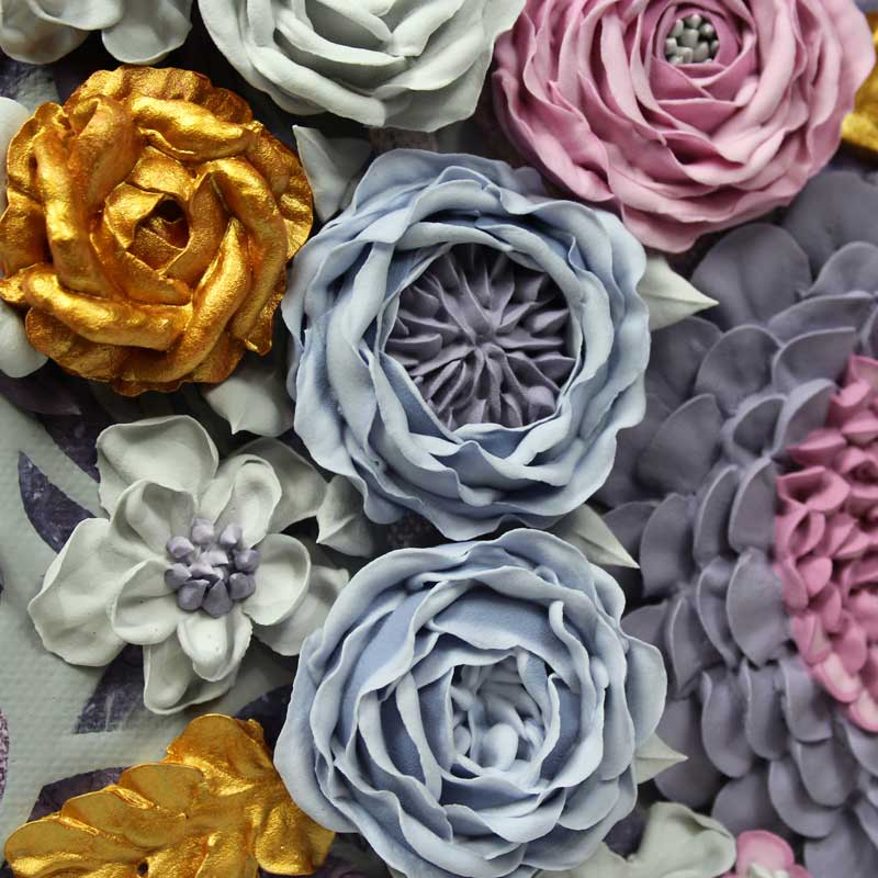 Sculpted roses on purple and gray floral wedding art