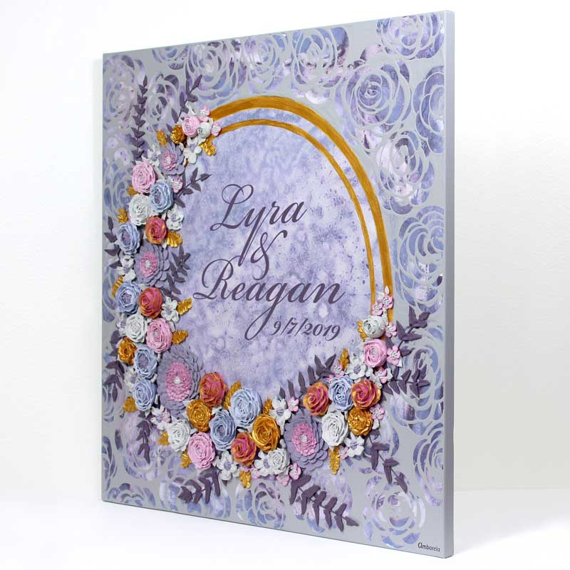 Side view of purple and gray floral wedding art