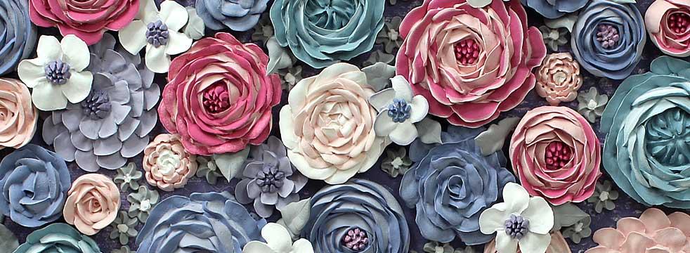 Farmhouse style sculpted flower art