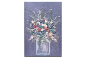 Textured art with violet farmhouse flower bouquet