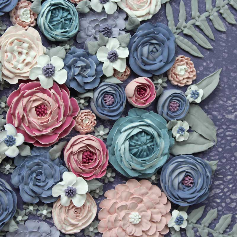 Sculpted flowers on textured art with violet farmhouse flower bouquet