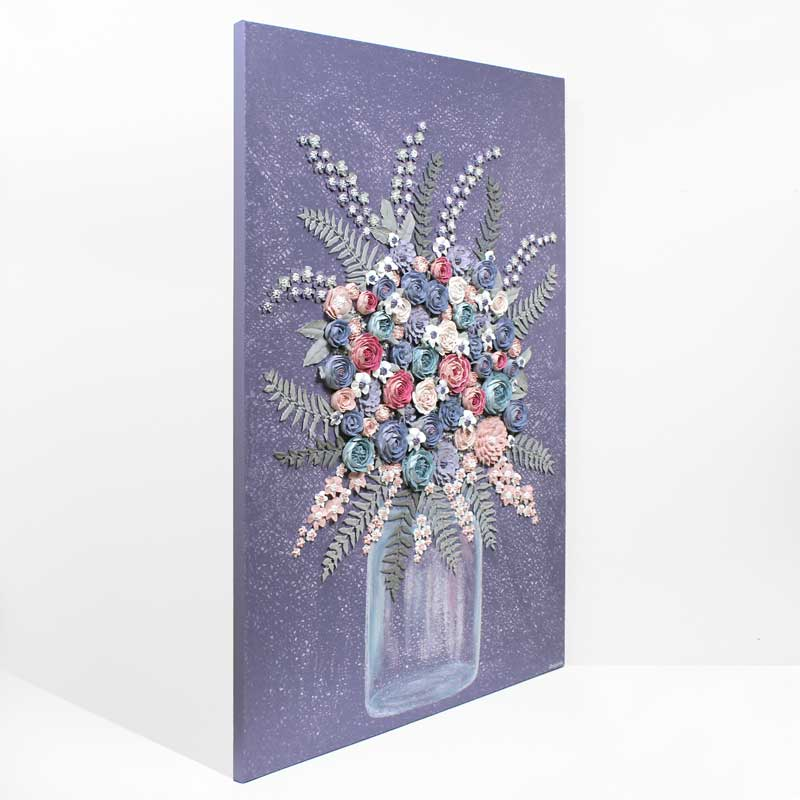Side view of textured art with violet farmhouse flower bouquet