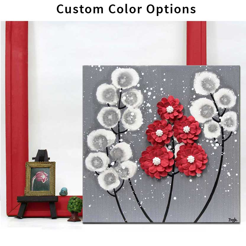 Small wildflower wall art in custom colors