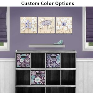 Custom color nursery art flowers on 3 canvases