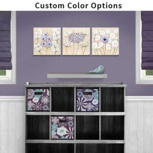 Custom Flower Set of 3 Canvas Art to Match Nursery Colors