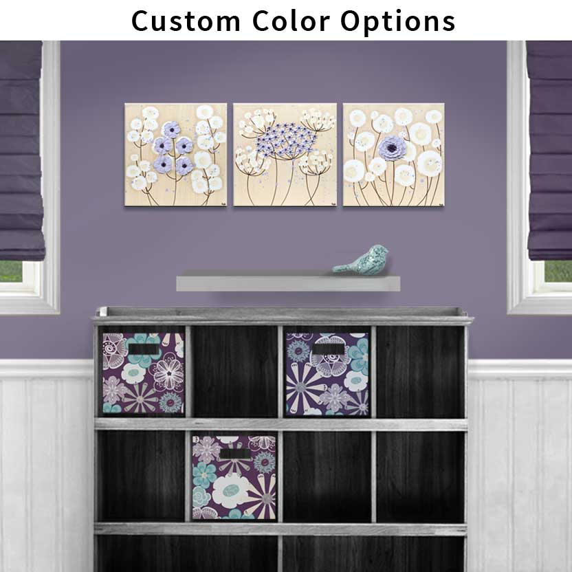 Custom color nursery art flowers on 3 canvases