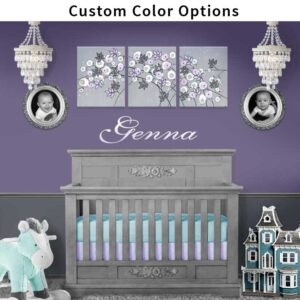 Custom Nursery Flower Wall Art Triptych, Choose Your Colors | Large
