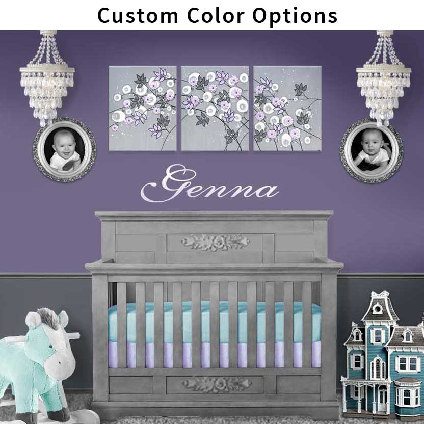Climbing flower nursery art in custom colors