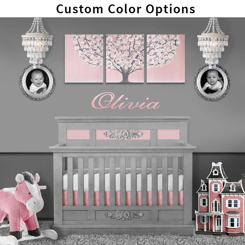 Nursery tree art in custom color options