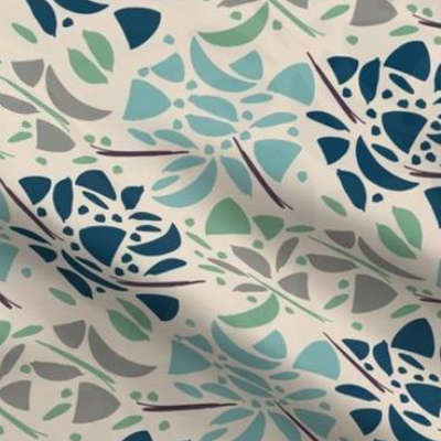 Art deco fabric with abstract floral design in blue tones