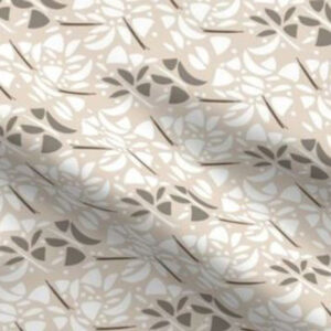 Art deco fabric with abstract floral design in brown tones